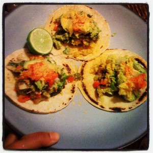 Yummy veggie tacos!